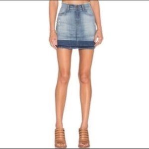 J Brand Lela Denim Frayed Mini Skirt in Drift